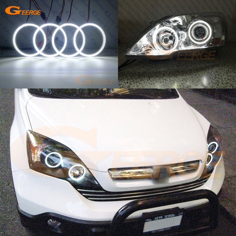 For HONDA CR-V CRV 2007 2008 2009 2010 2011 PROJECTOR HEADLIGHTS Excellent Ultra bright smd led Angel Eyes kit DRL for honda cr v crv 2007 2008 2009 2010 2011 xenon headlight excellent multi color ultra bright rgb led angel eyes kit halo rings