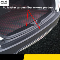 1pc car sticker carbon fiber texture PU leather trunk door sill decorative cover for 2015 2016 2017 HONDA XRV X RV HR V