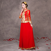 Women Traditional Wedding Gown Chinese Dress Autumn Bride Cheongsam Vintage Elegant China Robes Oriental Modern Qipao