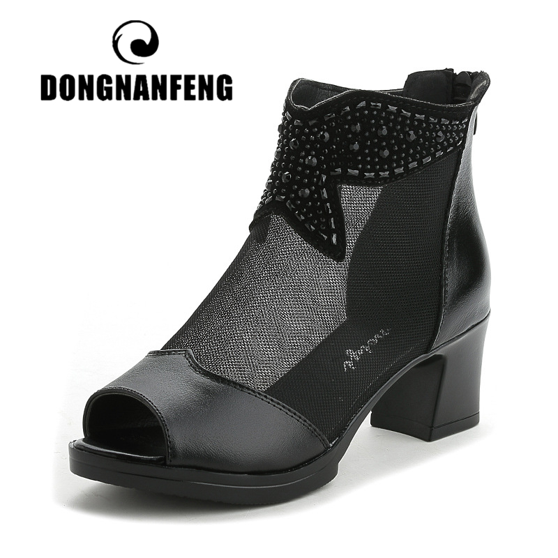 DONGNANFENG Women Ladies Mother Female Genuine Leather Mesh Shoes Sandals Ankle Summer Beach Bling Zipper Size 35-41 MLD-6683DONGNANFENG Women Ladies Mother Female Genuine Leather Mesh Shoes Sandals Ankle Summer Beach Bling Zipper Size 35-41 MLD-6683
