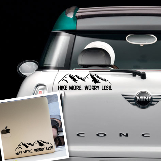 Art design hike more worry less car sticker mountain range mountain hiking vinyl car decals window