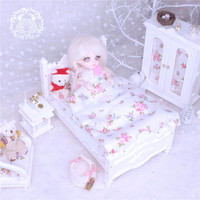 1:12 1:8 wooden Miniature bed for dolls dollhouse furniture toy kawaii pink white bed pretend play toys for children girls gifts
