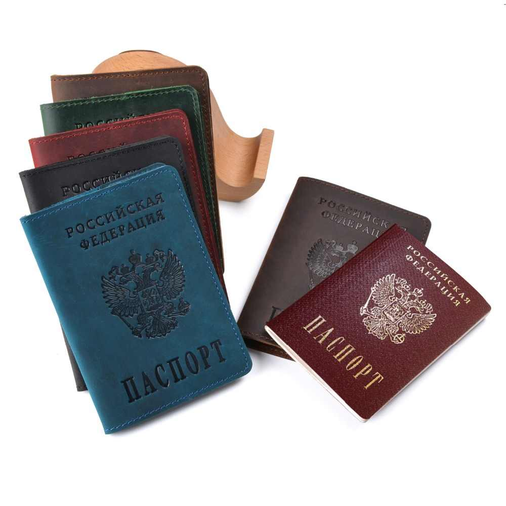Organizer Travel Genuine Leather Russia Passport Covers for Women Men Documents Identity Card Holder Case on The Passport