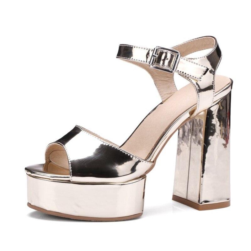 gold Chaude Vente 42 Poisson white Plate Hauts Sandales Tête Gladiateur Dames De Parti Chunky 32 black Perfetto Chaussures Taille Silver Femmes Talons forme Prova Eq54H1wx
