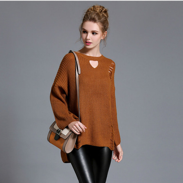 2017 New Arrivals    Women Tops Autumn and Winter Casual Trumpet Sleeves Code Turtleneck Sweater Cut Loose Personality 501C 30
