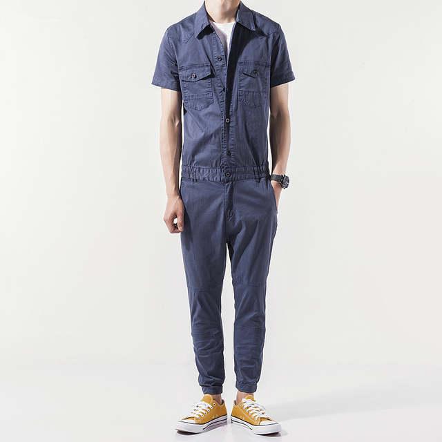 6689a963cdab placeholder Helisopus Men s Overalls pants Blend Jumpsuits Short Sleeve  Cargo Work Pants Cool Hiphop Men Workwear Overalls