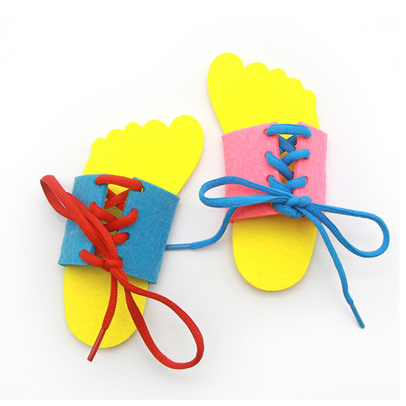 Montessori Toys For Children Early Educational Learning Lacing Shoes Kids Tie Shoelaces Toy Toddler Intelligence Teaching Aids