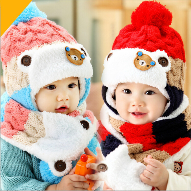 2017 baby cute bear design winter hat and scarf set infant knit beanie bomber hats ear