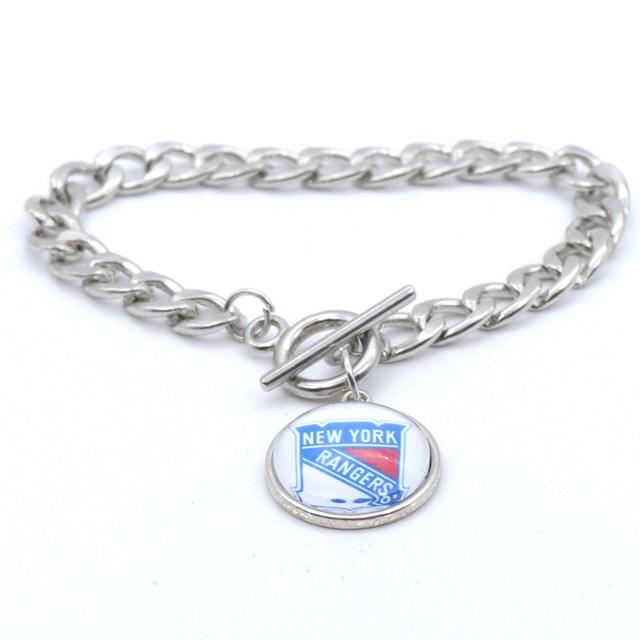 NHL New York Rangers Charms Leather Bracelets Sports Ice Hockey Silk  Bracelet Metal Bangle for Women Men Fashion 2017 3d1d69c3d
