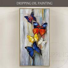 Long Size Hand-painted Abstract Butterflies Oil Painting on Canvas Handmade Small Insect Butterfly Paintings