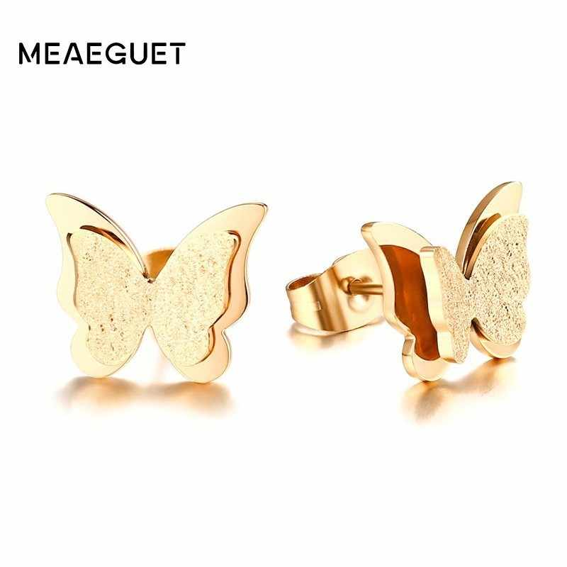 CZ Butterfly Earrings Stud For Women Gold And Rose Gold Color Stainless Steel Charm Fashion Femme Frosted Ear Studs Earing