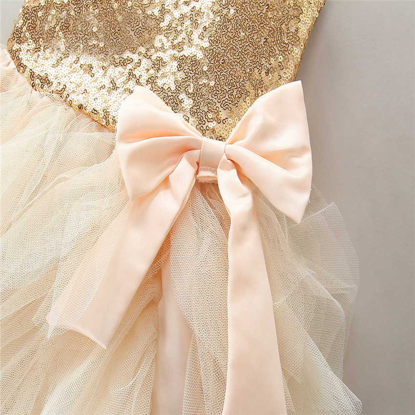 a5d4b9b4a4d029 ... Shiny Gold/Gray Kids Girls Lace Tulle Bowknot Tutu Wedding Pageant  Princess Party Dresses ...