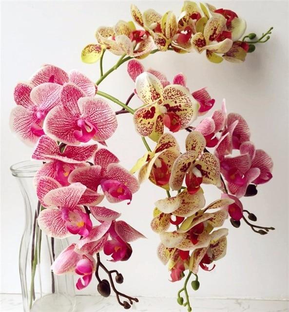 Один настоящие сенсорные орхидеи бабочка фаленопсис белый/фуксия/розовый/желтый искусственный Голубь из латекса орхидеи цветы для украшения свадьбы