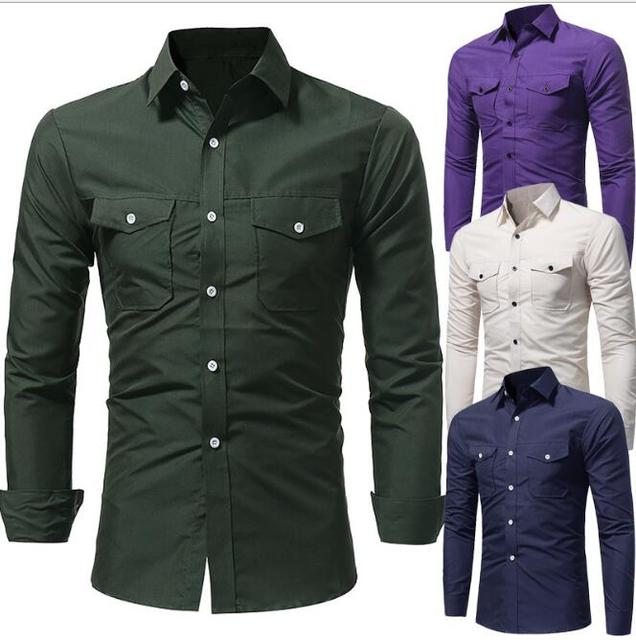aa0d5145a09 Mens long Sleeve solid casul Clearance Slim Fit Button Front Shirts two  pocket designer business shirt