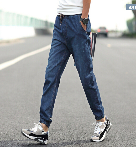 2016 new Jeans Men Elastic Drawstring Waist Jean Plus Size Small Cuff Casual Slim Jeans Pants Plus Size 5XL 4XL 3XL