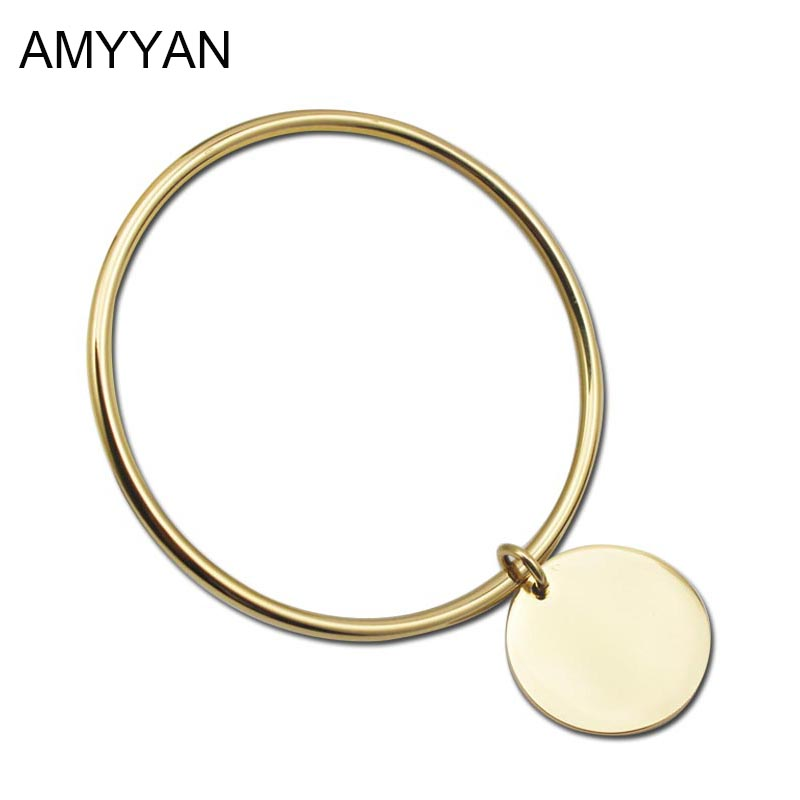 Gold Color Bangle Bracelet With Round Pendant Stainless Stee