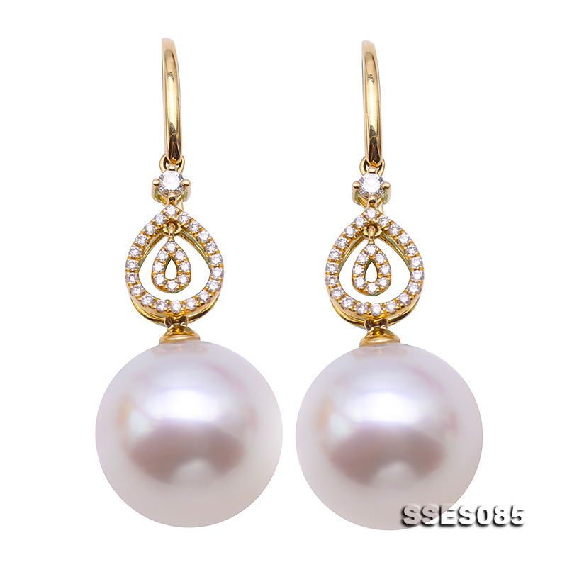 Elegant AAA 10-11mm real natural Australian south sea golden round pearl earring