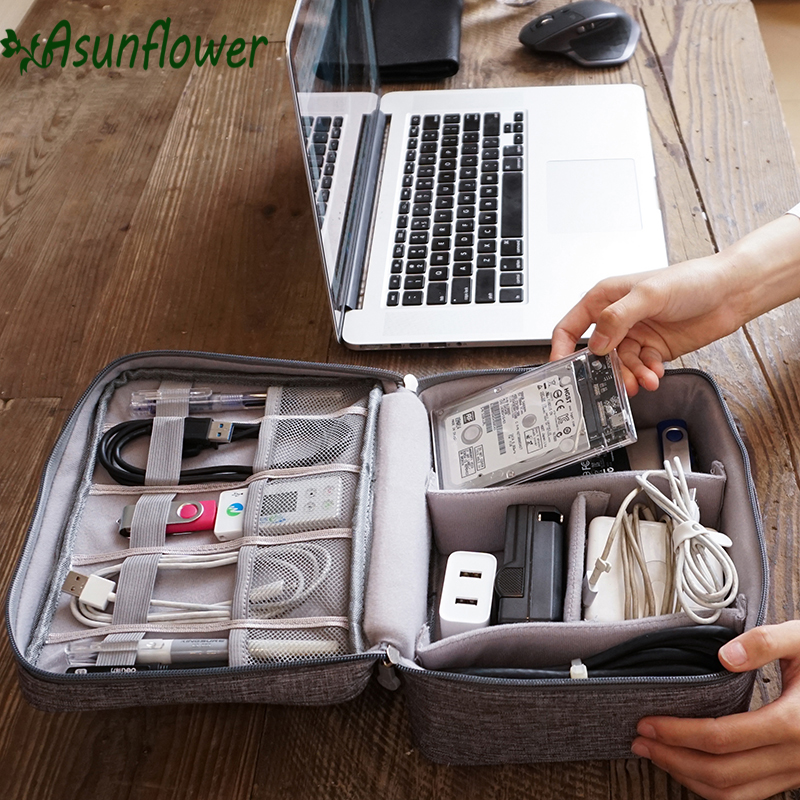 Asunflower Travel USB Cable Organizer Electronics Accessories Travel Cable Charger Storage Bag Portable Digital USB Gadget Organ