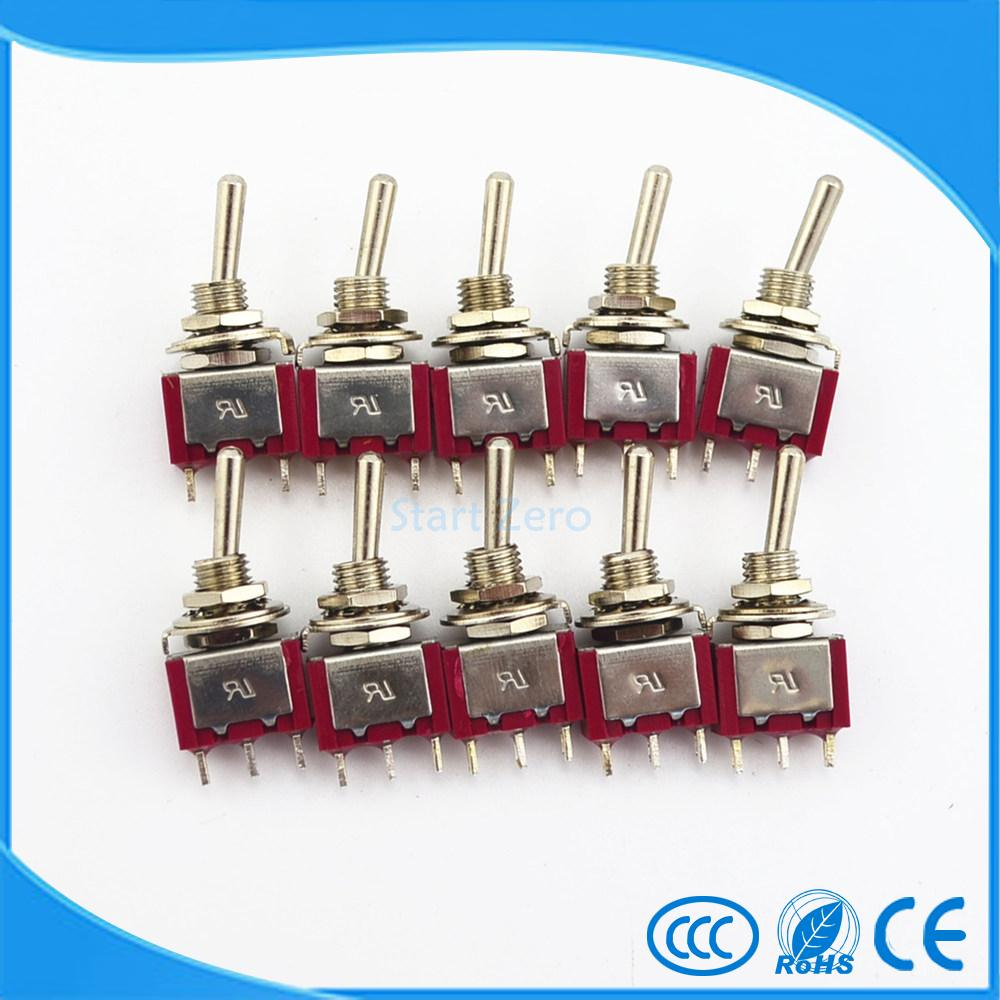 10Pcs Mini Toggle <font><b>Switch</b></font> 3 Pin 3 Position Momentary (ON)-OFF-(ON) SPDT 250V 3A image