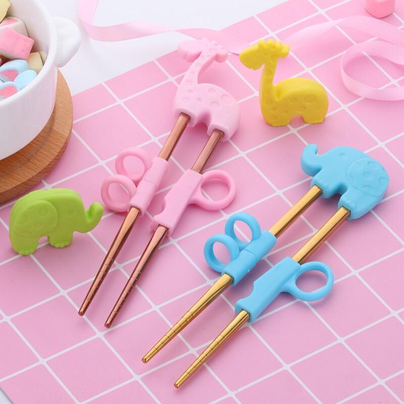 Popular  2Pairs Children Chopsticks For Kids Baby Staniless Steel Cartoon Learning Reusable Training Helper