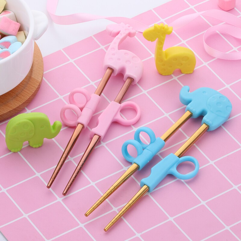 2Pairs Children Chopsticks For Kids Baby Staniless Steel Cartoon Learning Reusable Training Helper Chopsticks Home Baby Products