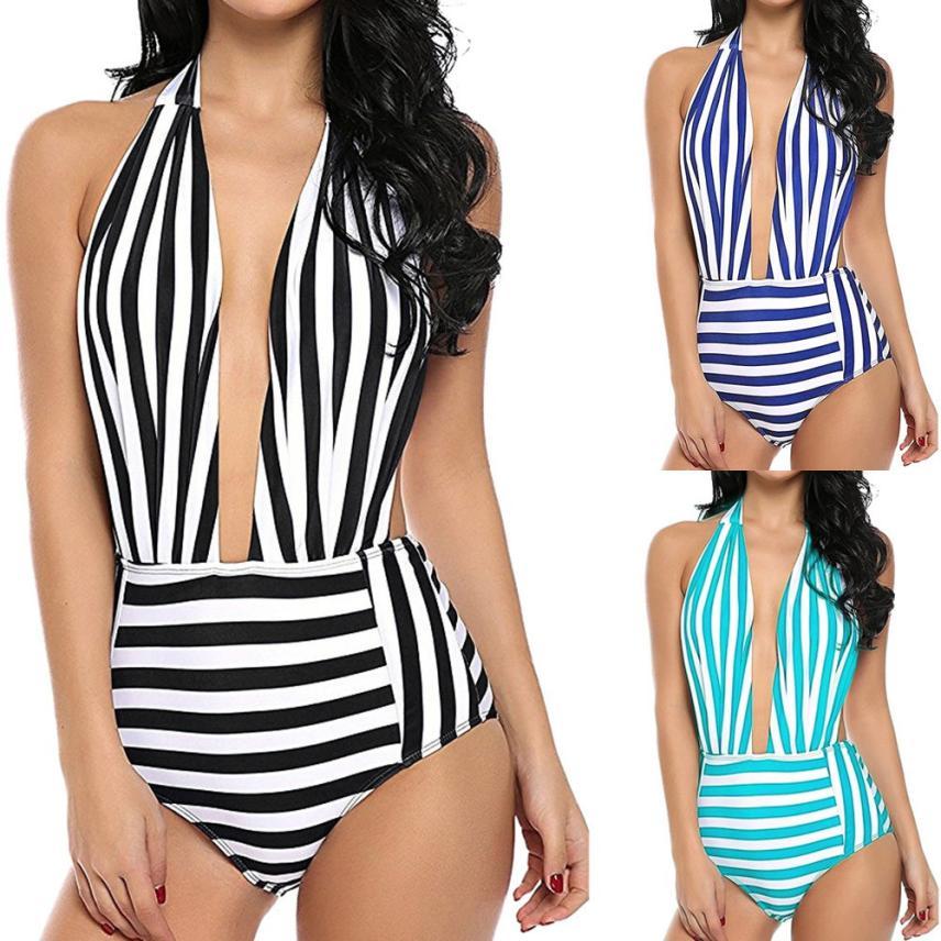 Newest Women Retro Backless Bather Swimsuit Striped Pin Up Swimwear Superb Womens Swimsuits Charming Bather Swimwears Biquini