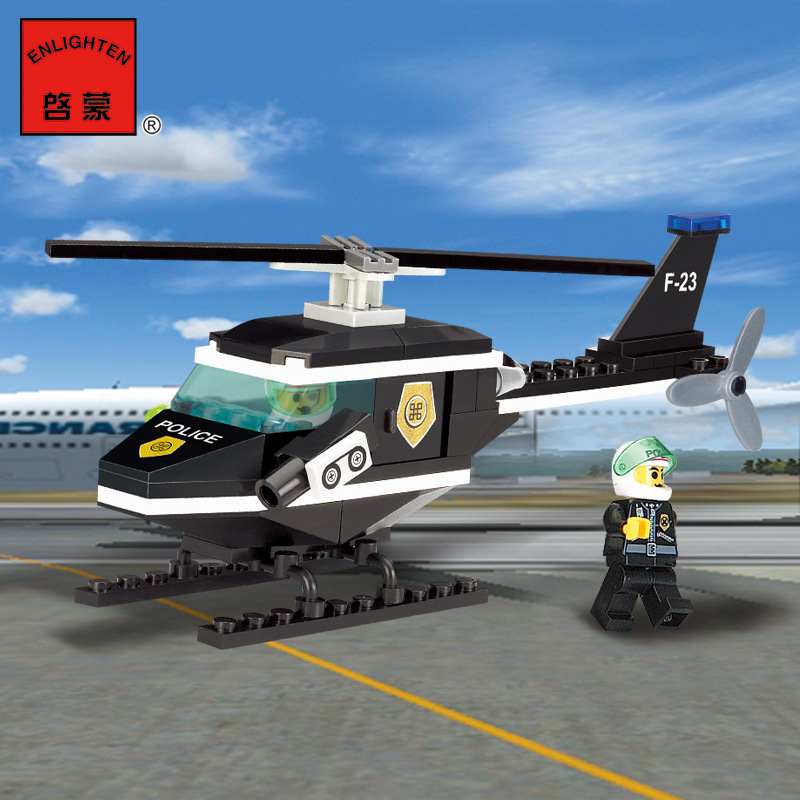 BP 123 Police Series Scout Helicopter Small Grain Spelling Insert Building Block Assembling Toys Building Block lepin highest hero series 07044 madhouse assembling spelling insert building block alpinia oxyphylla grain childre toys 1685pcs