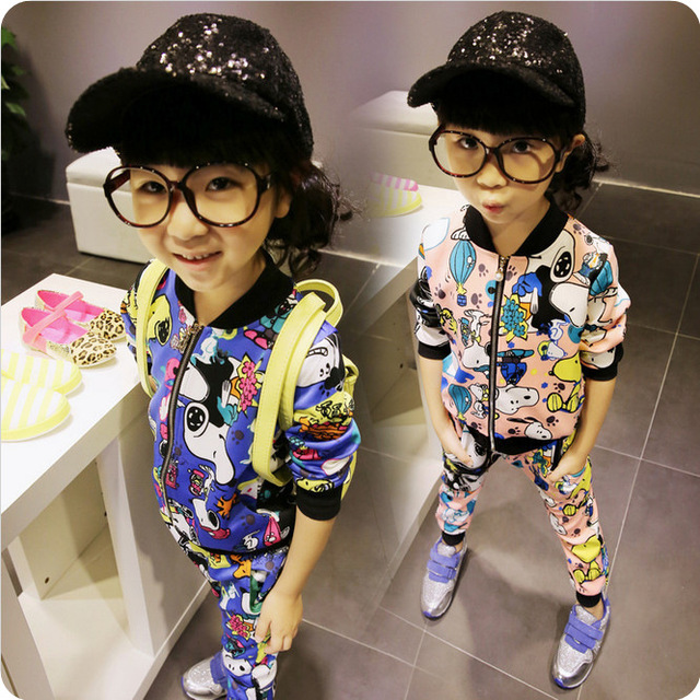 2017 Spring autumn korean kids clothes sets  boys girl outfits Monster Cartoon Leisure Zipper childrens clothing kinder topolino