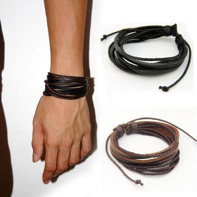 Männliche Leder Armbänder Armreifen Für Männer Schwarz Braun Geflochtenen Seil Handgelenk Band Armband Spitze-up Reif Männer Schmuck Einstellbare geschenk