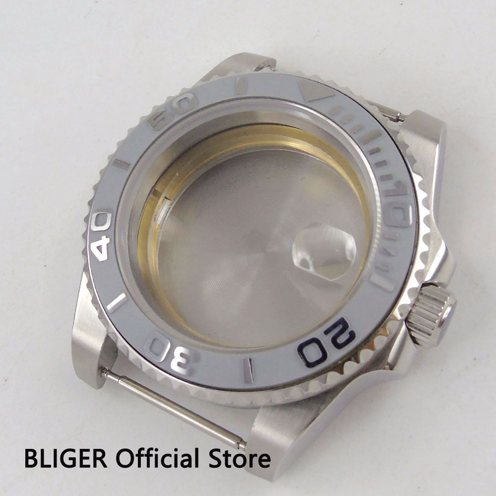 Solid 40mm BLIGER grey ceramic bezel sapphire glass 316L stainless steel watch case fit 2836 movement
