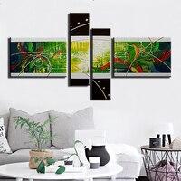 100%手描きキャンバスに油絵現代抽象壁アートラージキャンバスグリーンバックの絵