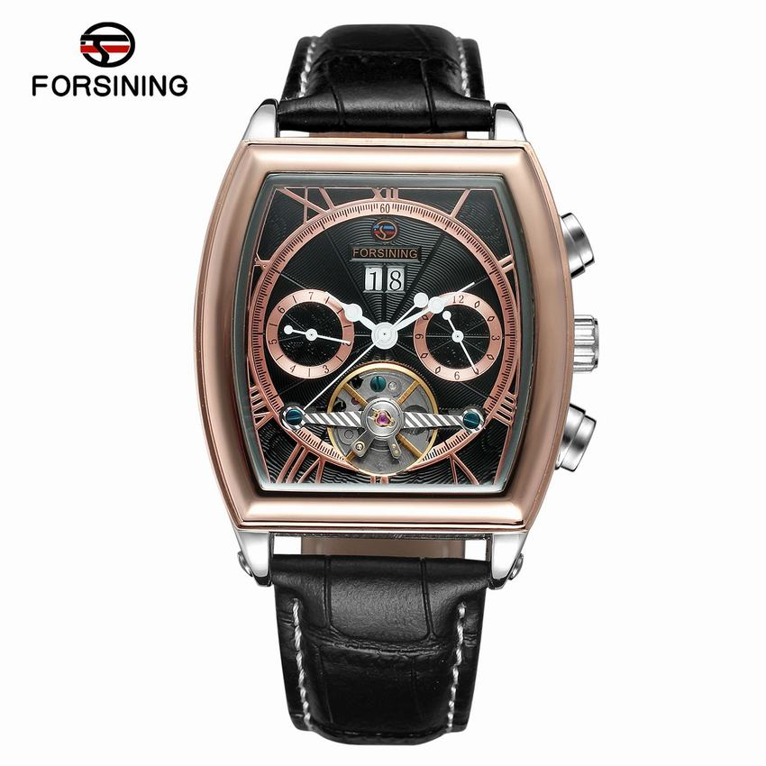 купить FORSINING New 2018 Men Full-automatic Mechanical Watch Tourbillon Luxury Fashion Brand Genuine Leather Man Multifunctional Watch по цене 3146.24 рублей