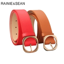 RAINIE SEAN Belt For Trousers Women Pu Leather Pin Buckle Casual Red Black Camel Ladies Jeans