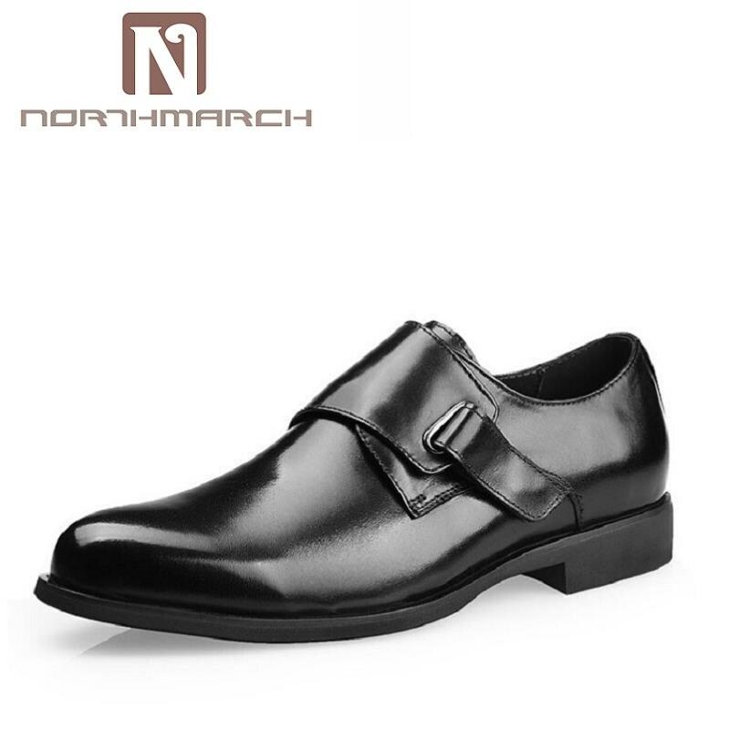 NORTHMARCH Hebilla de La Correa de Cuero de Negocios Zapatos de Marca Negro/Marrón Zapatos Formales Aptos Para Los Hombres de Oficina de Cuero de Vaca Zapato de Vestir sapato