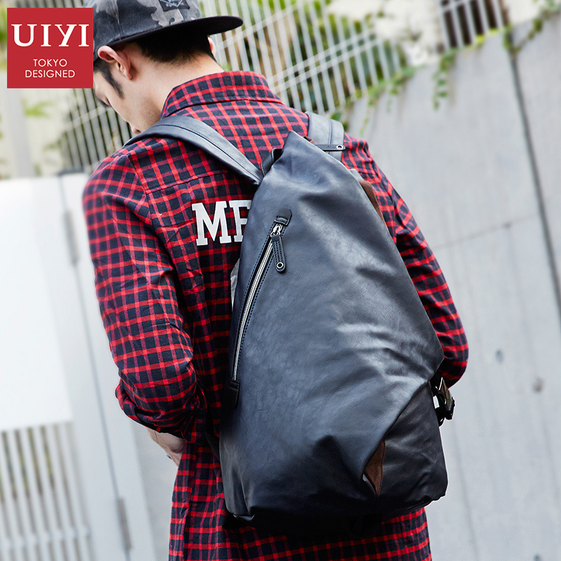 UIYI Men's Vintage Travel PU Leather Backpack College Bookbag Schoolbag for Men Shoulder Laptop Bag Rucksack Large diamond clutch crystal bag champagne flower wedding women evening bag sparkly ladies party purse pochette banquet prom bag sc282