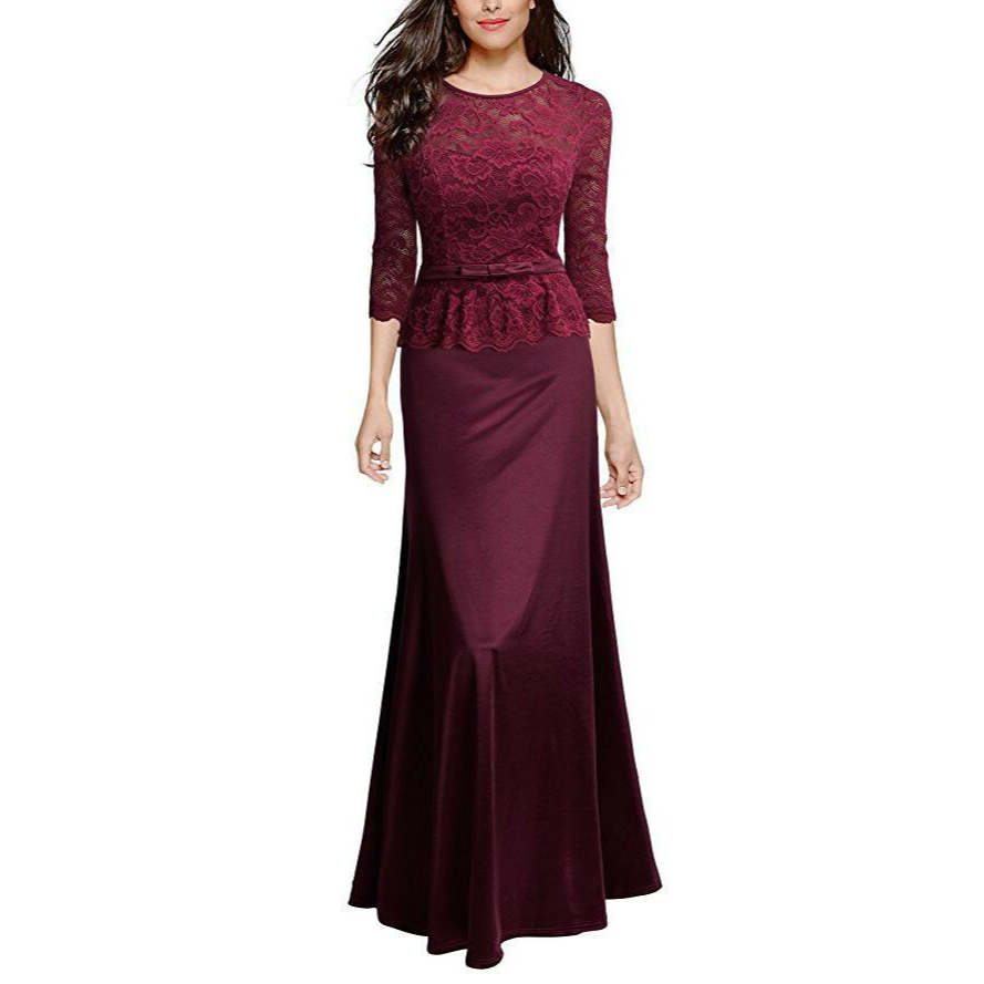 Wanita Retro Floral Lace Slim Peplum Panjang Evening Sexy Dress - Pakaian Wanita - Foto 4
