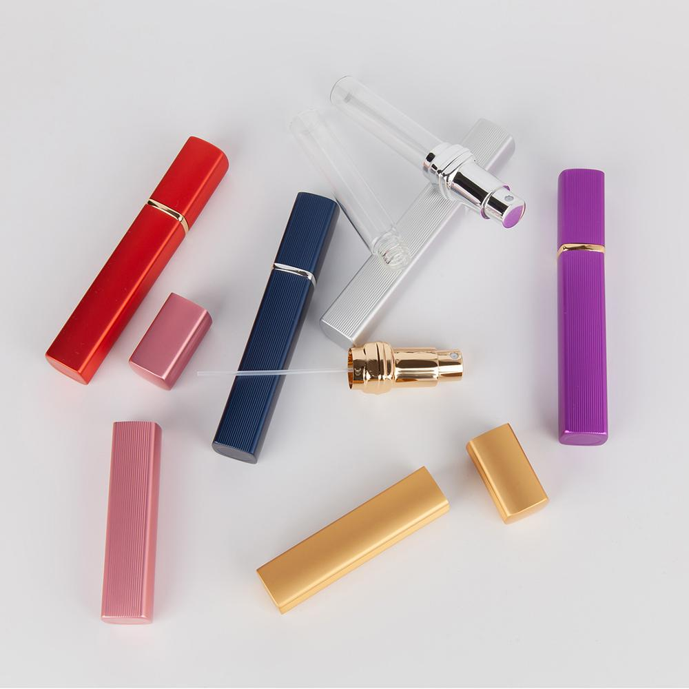 1pcs 6 color Metal Case Glass Tank 12ml Perfume Bottle Aluminum Nozzle Spray Refillable Bottle Parfum Cosmetic Glass Container in Refillable Bottles from Beauty Health