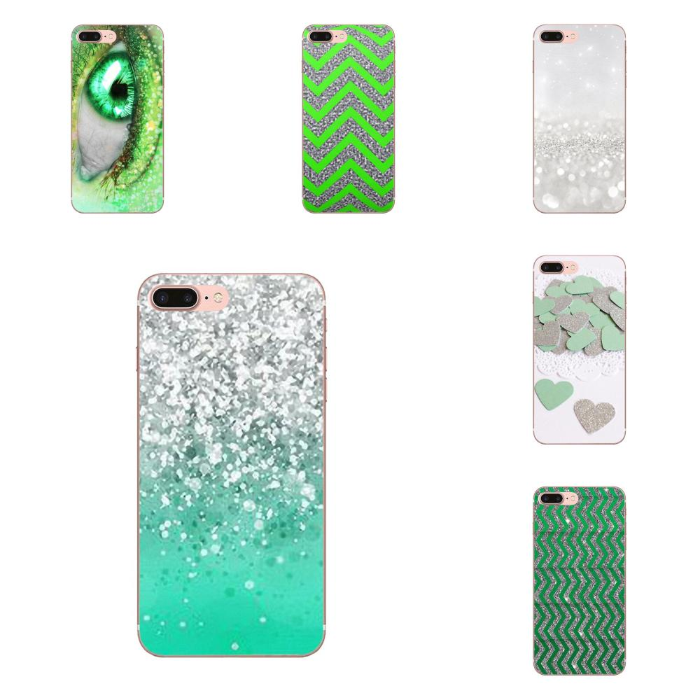 TPU Case Coque Cover Green And Silver Glitter For Xiaomi Mi6 <font><b>Mi</b></font> 6 A1 Max Mix 2 5X 6X Redmi Note 5 5A 4X 4A <font><b>A4</b></font> 4 3 Plus Pro image