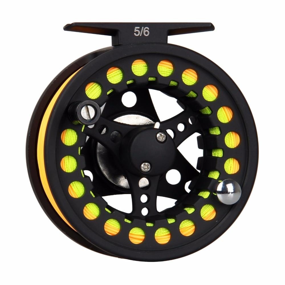 1/2 3/4 5/6 7 / 8WT Negro Fly Fishing Reel Gran cenador de aluminio - Pescando