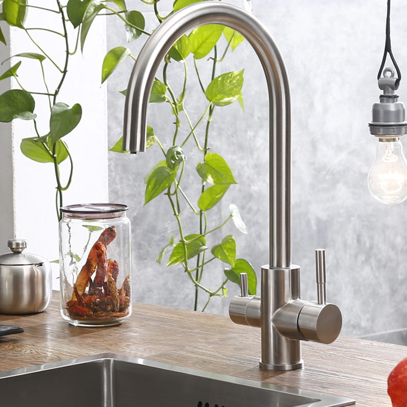 цена Contemporary Three Way Sink Mixer Water Filter Tap 304 SUS Kitchen Faucets Drinking Water Faucets Brushed Taps 2 Water Outlet