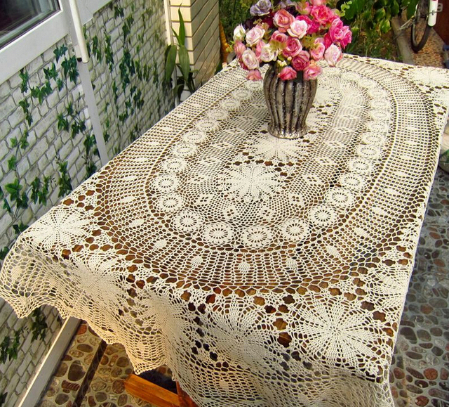 Beau Christmas Decorations Handmade Crochet Flowers Beige Oval Table Cloth  Hollow Cotton Tablecloth Furniture Cover Cloth