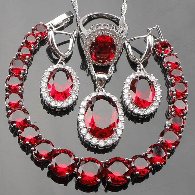 Red Stones White CZ Silver 925 Costume Jewelry Sets Women Necklace Pendant Earrings Rings For Wedding & Red Stones White CZ Silver 925 Costume Jewelry Sets Women Necklace ...