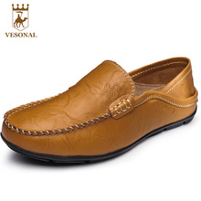 VESONAL Spring Autumn Brand Men Loafers Casual Shoes Mocassin Male Ons Boat Quality Genuine Leather Walking Footwear Driver Man