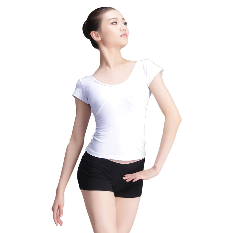 New Short Sleeve Cotton Ballet Dance Slim T Shirt Adult Girls Women White/Black Elastic Gymnastics Tops