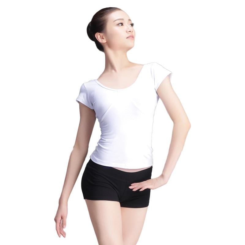 New Short Sleeve Cotton Ballet Dance Slim T Shirt Adult Girls Women White/Black Elastic Gymnastics Tops