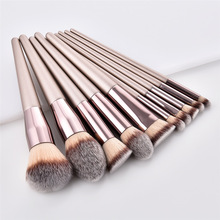 cheapest champagne wooden foundation powder cosmetic eyebrow eyeshadow brush kit professional makeup artist brush set tools
