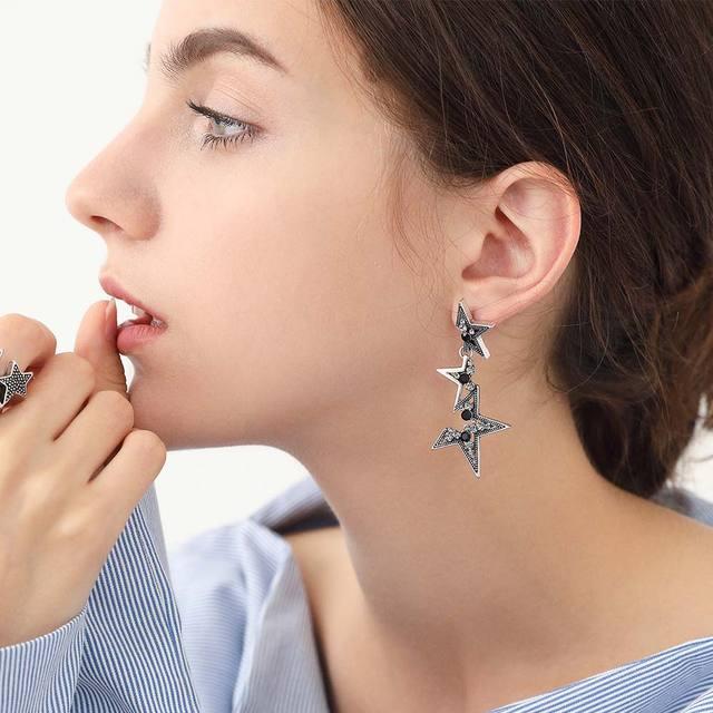 Viennois Vintage Silver Star Drop Earrings For Women Abstract Rhinestone Geometric Long Dangle Fashion Jewelry 2019