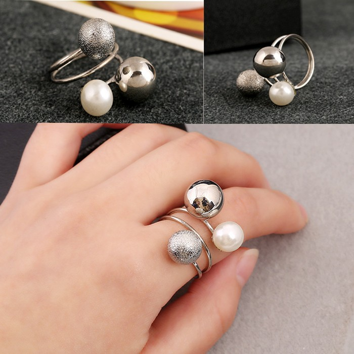 Shine Jewelry Ring Adjustable Double Simulated Pearl Ring For Women