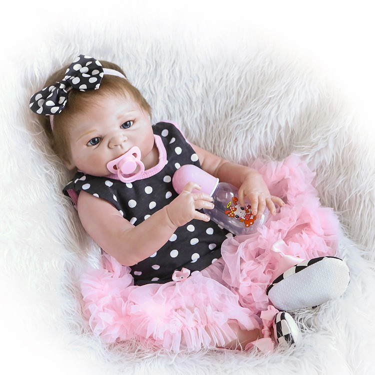 NPK Adorable 19inch 46cm Reborn Doll Handmade Full Silicone bebe reborn girl Doll Boneca In Cute