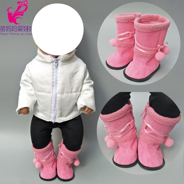 7.5CM Dolls Shoes For 43cm Born Bebe Doll Boots Winter Pink Shoes Baby Doll High Tops 18 Inch Girl Doll Shoes Boots